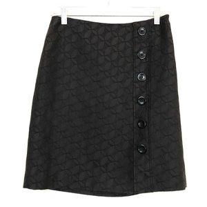 Ann Taylor Black Side Button Above Knee Skirt